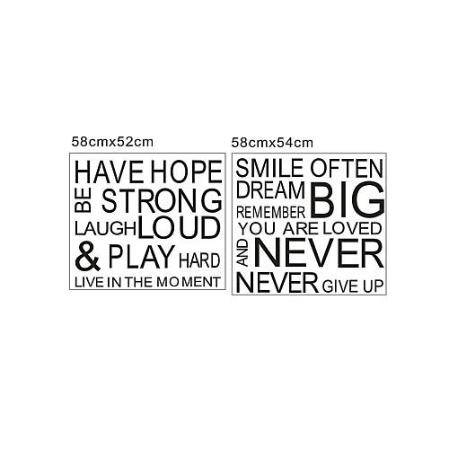 слова и цитаты наклейки имеют надежду никогда не сдаваться моющиеся наклейки на стены Lightinthebox 1288.000