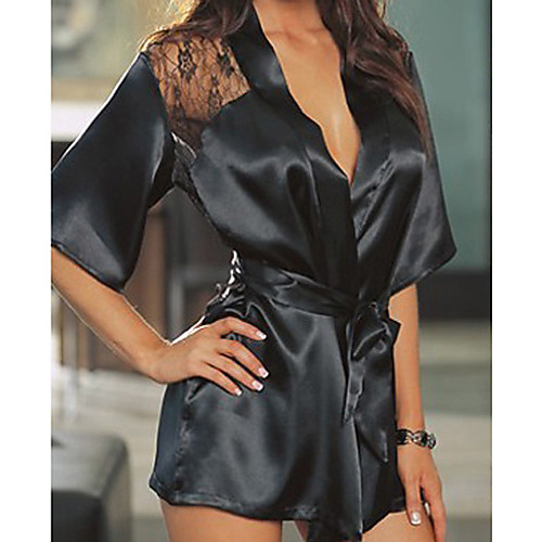 Женский атласный халат с кружевной спинкой (подходит для размеров: M-XL) Lightinthebox 446.000
