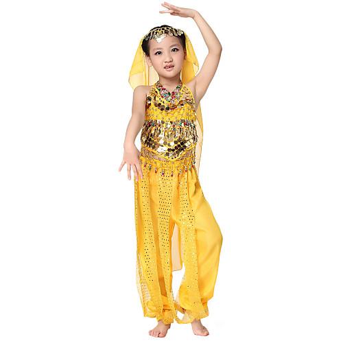 Танцевальная одежда шифон с монетами Belly Dance Top Нижнее и шарф и юбка для детей больше цветов Lightinthebox 583.000
