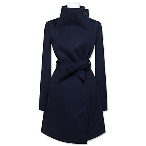 Pinklady лацкане шеи сплошной цвет халазы длинное пальто Lightinthebox 2019.000