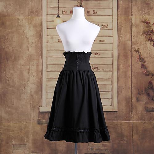 Длиной до колен черного хлопка Классическая Лолита высокой талии юбка Lightinthebox 2577.000