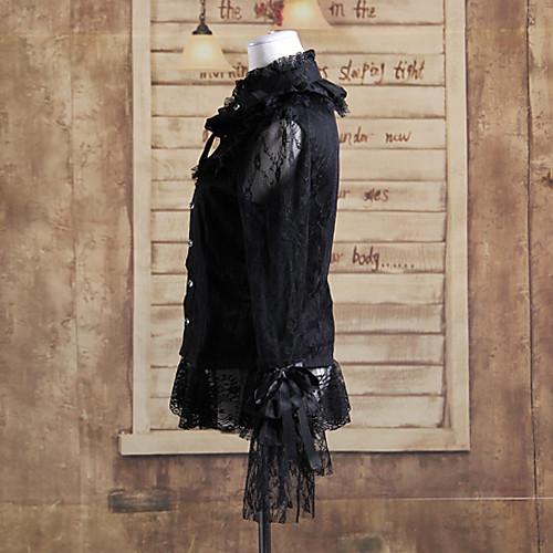 кружева с длинным рукавом черный хлопок Готическая Лолита блузка Lightinthebox 1718.000