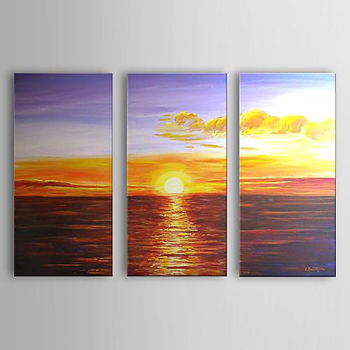 ручной росписью маслом морской пейзаж и восход солнца с растянутыми кадр набор из 3 1307-ls0336 Lightinthebox 4726.000