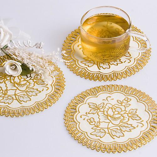 Довольно Круглый Золотой Блокировка ПВХ Coaster сувениры (набор из 6 шт) Lightinthebox 65.000
