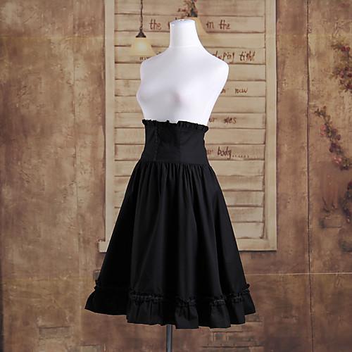 Длиной до колен черного хлопка Классическая Лолита высокой талии юбка