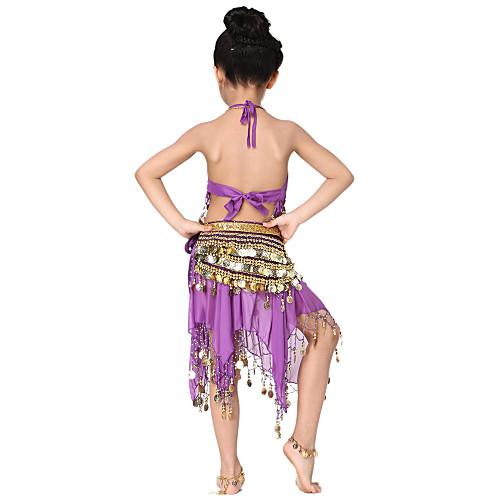 Танцевальная одежда шифон с монетами Belly Dance Top наряды и пояс и юбка для детей больше цветов Lightinthebox 773.000