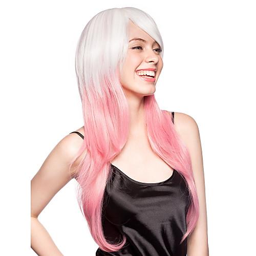 Монолитный синтетический парик с бело-розовыми длинными прямыми волосами Lightinthebox 1288.000