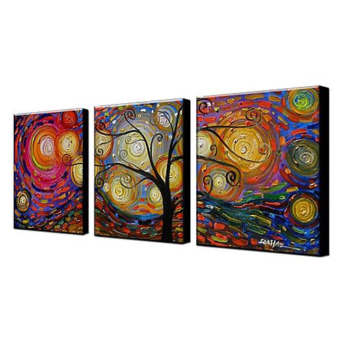 ручной росписью маслом цветочные дерево набор из 3 с растянутыми кадра 1307-fl0158 Lightinthebox 3866.000