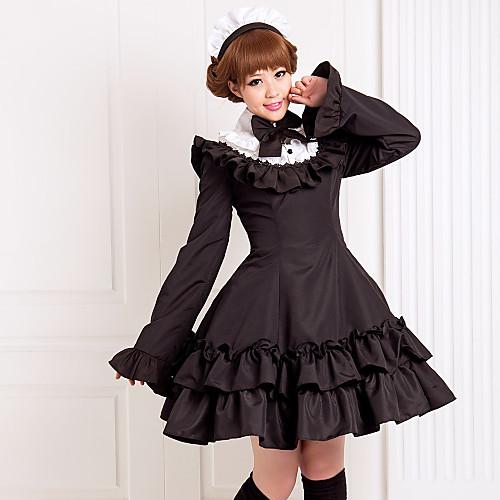 Футболки с длинным рукавом длиной до колен черного хлопка классической школы Лолита платье Lightinthebox 3007.000