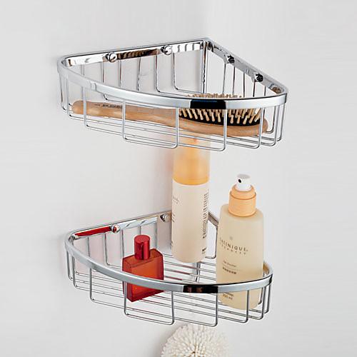 Двухслойной треугольной корзины Угловой меди с Крючки стеклянная полка ванной комнаты Lightinthebox 3437.000