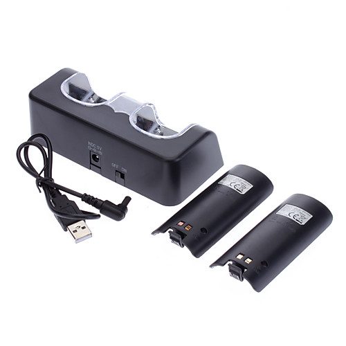 Аккумуляторная батарея для стенда Wii  2 х 2800mAh Аккумуляторы  Проводной инфракрасный датчик бар для Wii (черный) Lightinthebox 1073.000