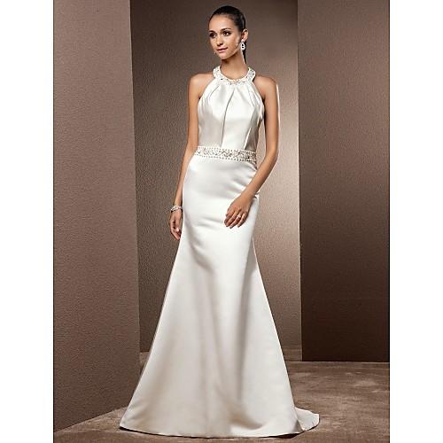 Сатиновое свадебное платье русалка с вышивкой и шлейфом Lightinthebox 4898.000