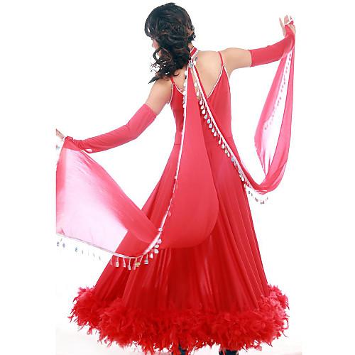 Танцевальная одежда вискоза с хрусталь Современный танец платье для дам
