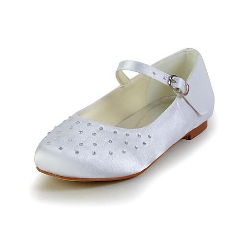 Довольно атласная плоский каблук закрытыми пальцами с Rhinestone Квартиры и пряжка цветок обувь Девушки (другие цвета) Lightinthebox 1488.000