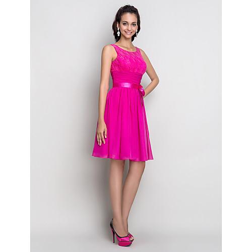 Шифоное коктейльное платье с кружевным верхом и тонким атласным поясом, А-силуэт Lightinthebox 4253.000
