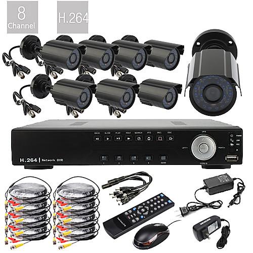 Система видеонаблюдения с DVR 8CH D1 Real Time H.264 600TVL  (8 водонепроницаемых CMOS камер) Lightinthebox 7734.000