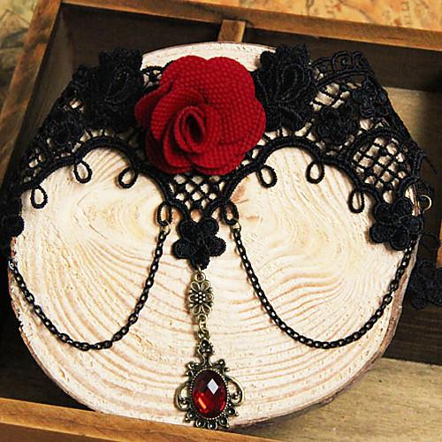 handmand красная роза черного кружева Готическая Лолита ожерелье Lightinthebox 858.000
