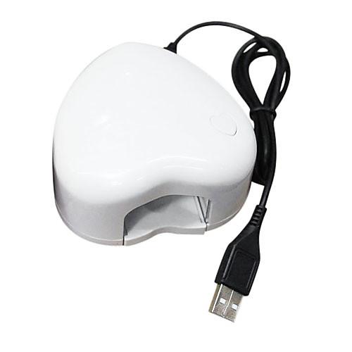 Портативный мини 3W Светодиодная лампа ногтей Сушилка белом Любить-сердце Lightinthebox 1202.000