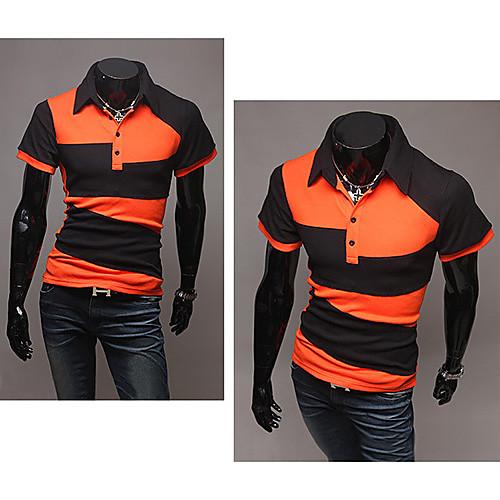Мужская хлопковая футболка с воротником поло. Оранжевая с геометрическим рисунком Lightinthebox 691.000