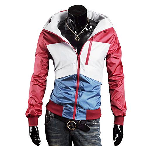Мужская Водонепроницаемые Color Matching Пальто с обручем (красный) Lightinthebox 1288.000