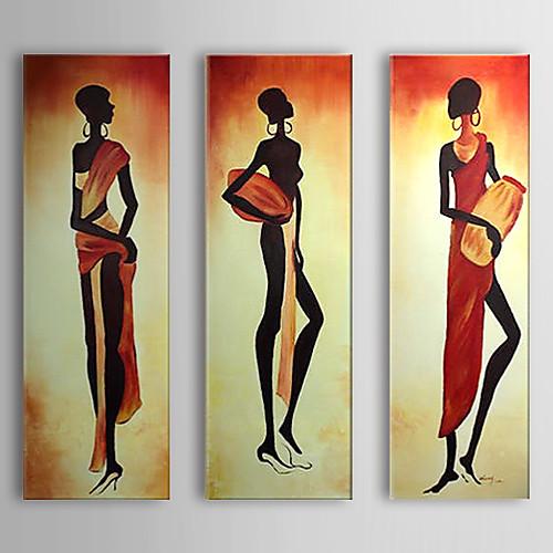 ручной росписью маслом людей ритмы и elgant женщин с растянутыми кадр Набор 3 1307-pe0298 Lightinthebox 4898.000