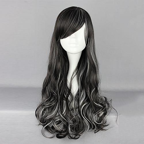 Парик из смешанного черного и белого волнистого волоса для косплея готической и панк Лолиты (70 см) Lightinthebox 1288.000