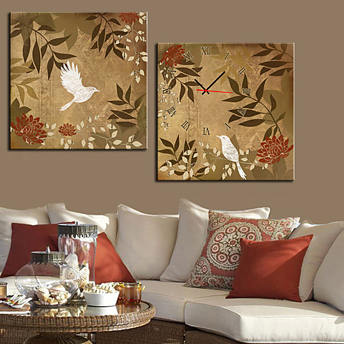современный стиль цветочные птицы Настенные часы в холст 2шт Lightinthebox 2148.000