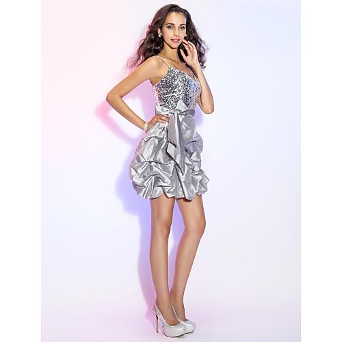 A-Line/Princess бретельках короткий / мини тафта и блестками платье коктейль / выпускного вечера Lightinthebox 5585.000