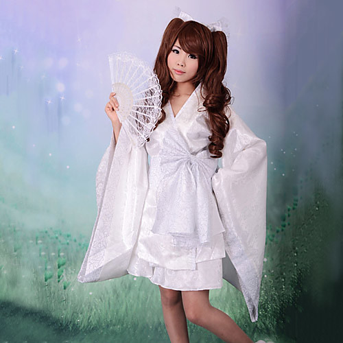 Сатиновое короткое кимоно для косплея японской Лолиты