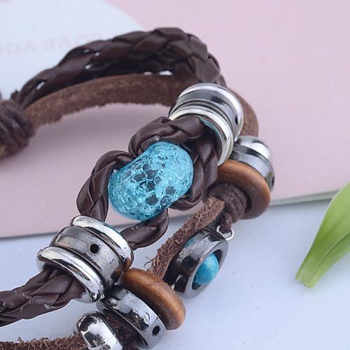 Браслет кожаный плетеный с янтарем, винтажный стиль, ручная работа Lightinthebox 89.000