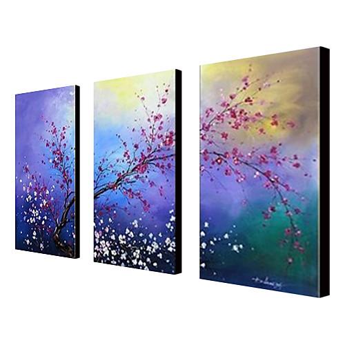 ручной росписью маслом цветочные цветы сливы набор из 3 с растянутыми кадра 1307-fl0189 Lightinthebox 5370.000