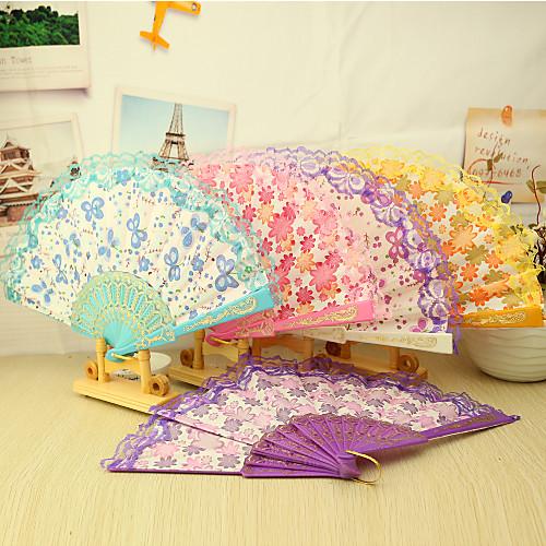 Красивые цветочные пластиковый вентилятор рук - комплект из 4 (смешанные цветы, смешанные цветочным узором) Lightinthebox 240.000
