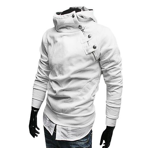 Мужской белый худи с воротником-стойкой, застежкой сбоку и капюшоном Lightinthebox 987.000