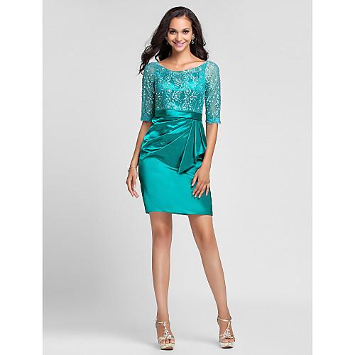 Платье-футляр коктейльное из стрейч атласа и кружева, рукав до логтя, силуэт колонна Lightinthebox 3866.000