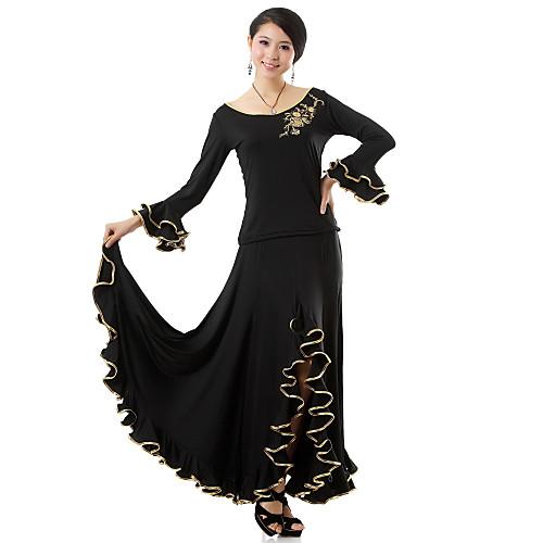 Производительность Красивые танцевальная одежда вискоза современного танца Топ Снаряжение и юбки для женщин
