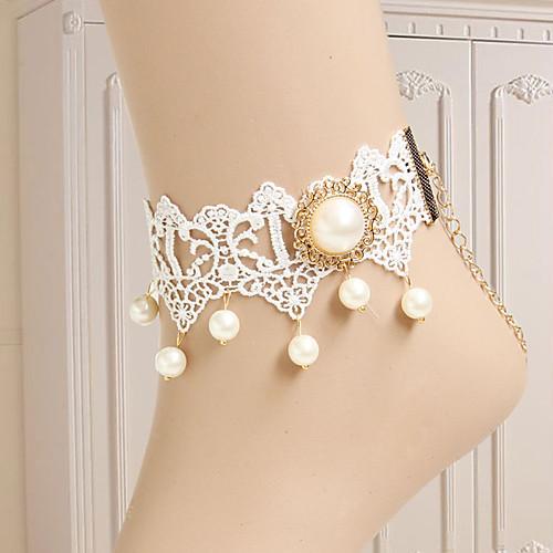 элегантные белые кружева Классическая Лолита ножной браслет с бисером