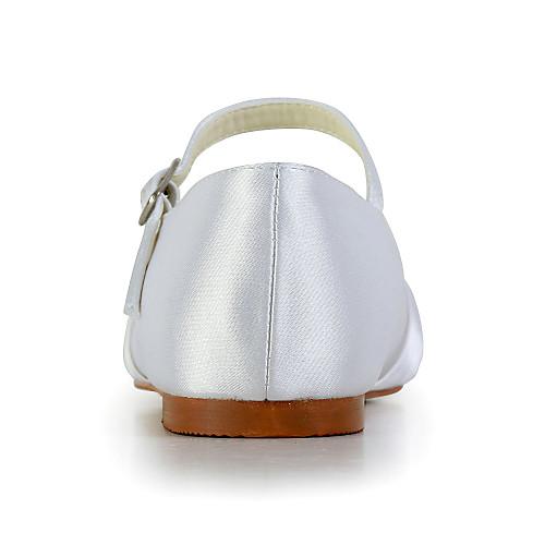 Прекрасная атласная плоский каблук закрытыми пальцами с пряжкой Квартиры Цветочная обувь для девочек (другие цвета) Lightinthebox 1488.000