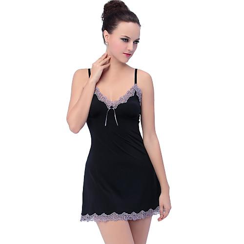 Черный Симпатичный дамский Мягкие Babydoll Кружева