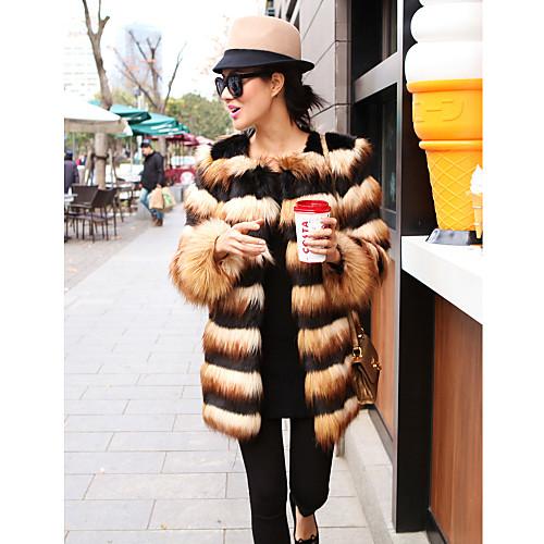 Полосатое пальто из искусственного меха Lightinthebox 3437.000