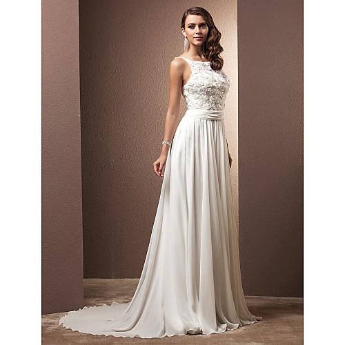 Свадебное платье-футляр из шифона с цветочным верхом, драпировкой и шлейфом средней длины, силуэт колонна Lightinthebox 5499.000