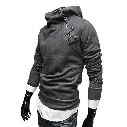 Мужской темно-серый хлопковый худи с воротником-стойкой и застежкой сбоку Lightinthebox 1030.000