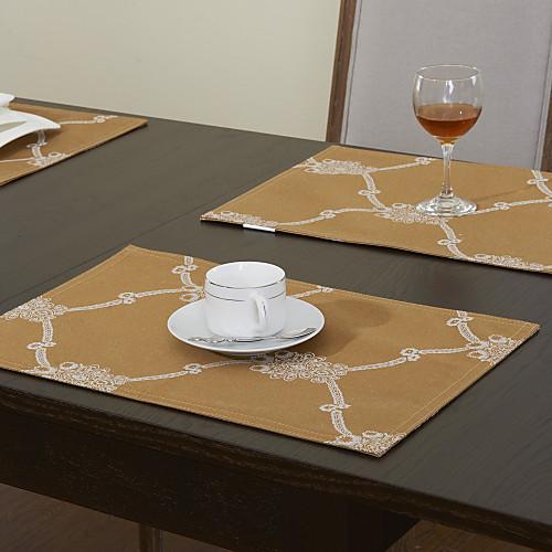 набор из 4 геометрических печатных полиэстер хлопок салфетки золотые Lightinthebox 708.000