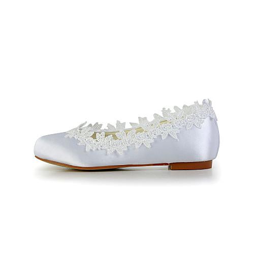 Довольно атласная плоский каблук закрытыми пальцами ботинок квартир с цветком для девушки цветка (больше цветов) Lightinthebox 1503.000