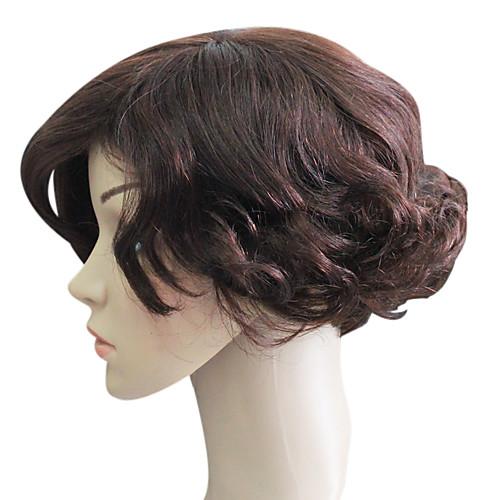 Монолитным 100% человеческих волос короткий Браун волнистые волосы парики