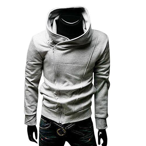 Мужская спортивная косуха серого цвета с воротником стойкой и капюшоном Lightinthebox 858.000