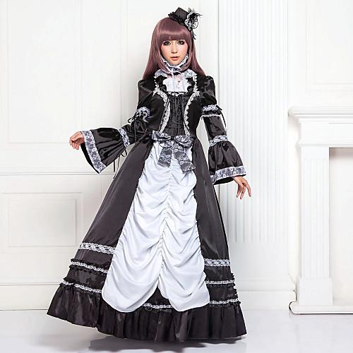 с длинным рукавом длиной до пола черного атласа хлопка классический Лолита платье Lightinthebox 3437.000