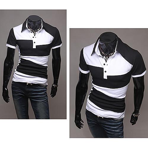 Мужская хлопковая футболка с воротником поло. Белая с геометрическим рисунком Lightinthebox 644.000