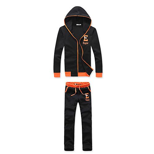 Мужская Бленда хлопка с длинным рукавом Длина досуг спортивные костюмы (черный) Lightinthebox 1718.000