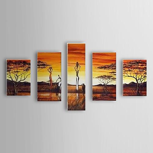 ручной росписью маслом пейзаж людей и деревьев с растянутыми кадр набор из 5-1307 ls0358 Lightinthebox 5156.000