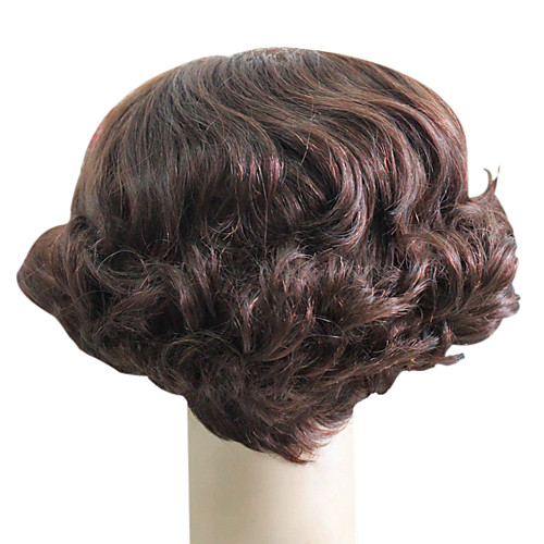 Монолитным 100% человеческих волос короткий Браун волнистые волосы парики Lightinthebox 2019.000